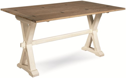 Universal Curated Drop Leaf Console Table with X-Shaped Pedestals