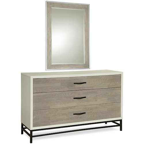 Universal Curated Spencer Dresser and Mirror Set with 3 Drawers