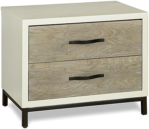 Universal Curated 2 Drawer Nightstand with Flip Top Power Supply