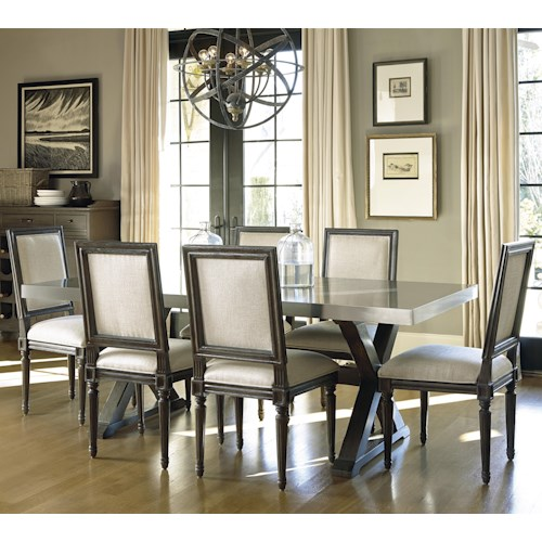 Universal Curated 7 Piece Brownstone Dining Set with Flatiron Table
