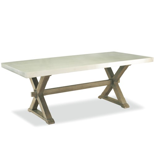 Universal Curated Flatiron Table with Trestle Base