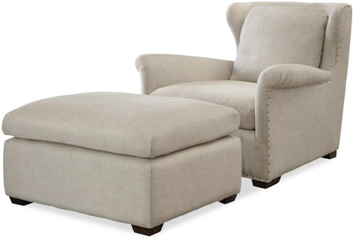 Universal Haven Transitional Chair and Ottoman Set with Block Feet