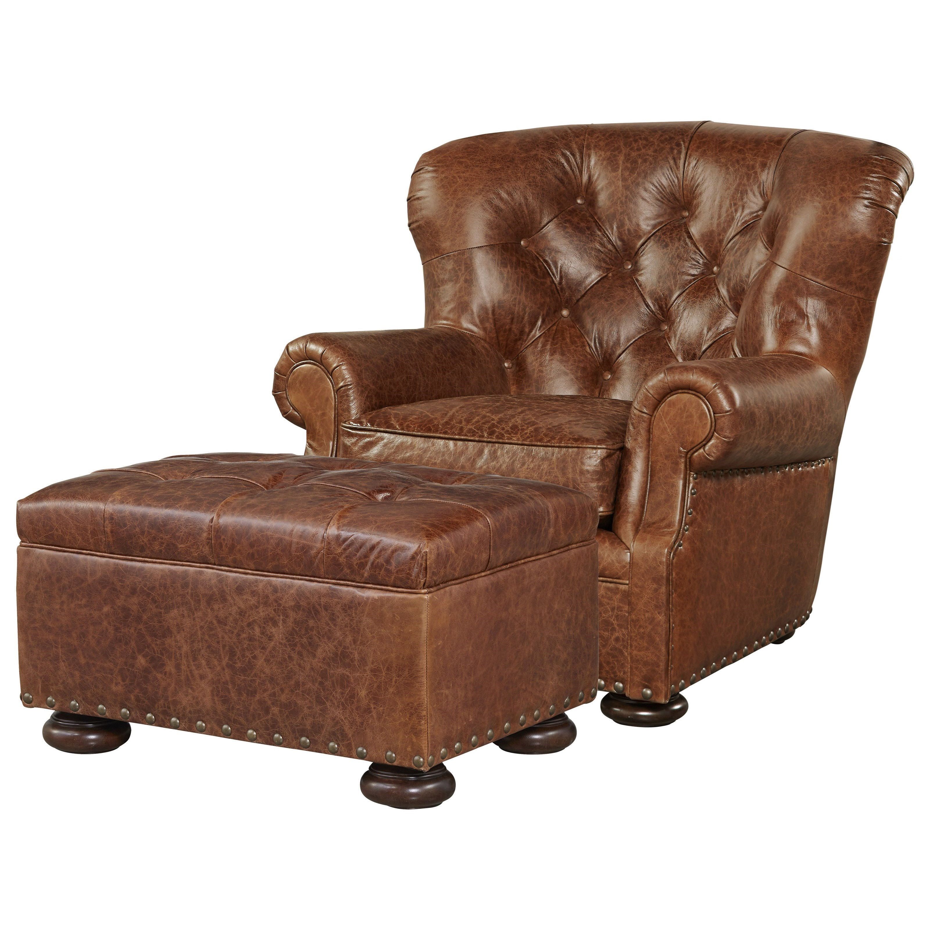 Universal Maxwell Chair And Ottoman Set With Button Tufting