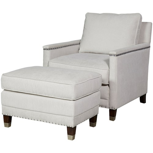 Universal Merrill Contemporary Chair & Ottoman Set with Nail Head Trim