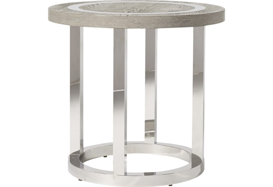 Universal Modern 645802 Wyatt Round End Table With Stainless Steal Base Corner Furniture End Tables