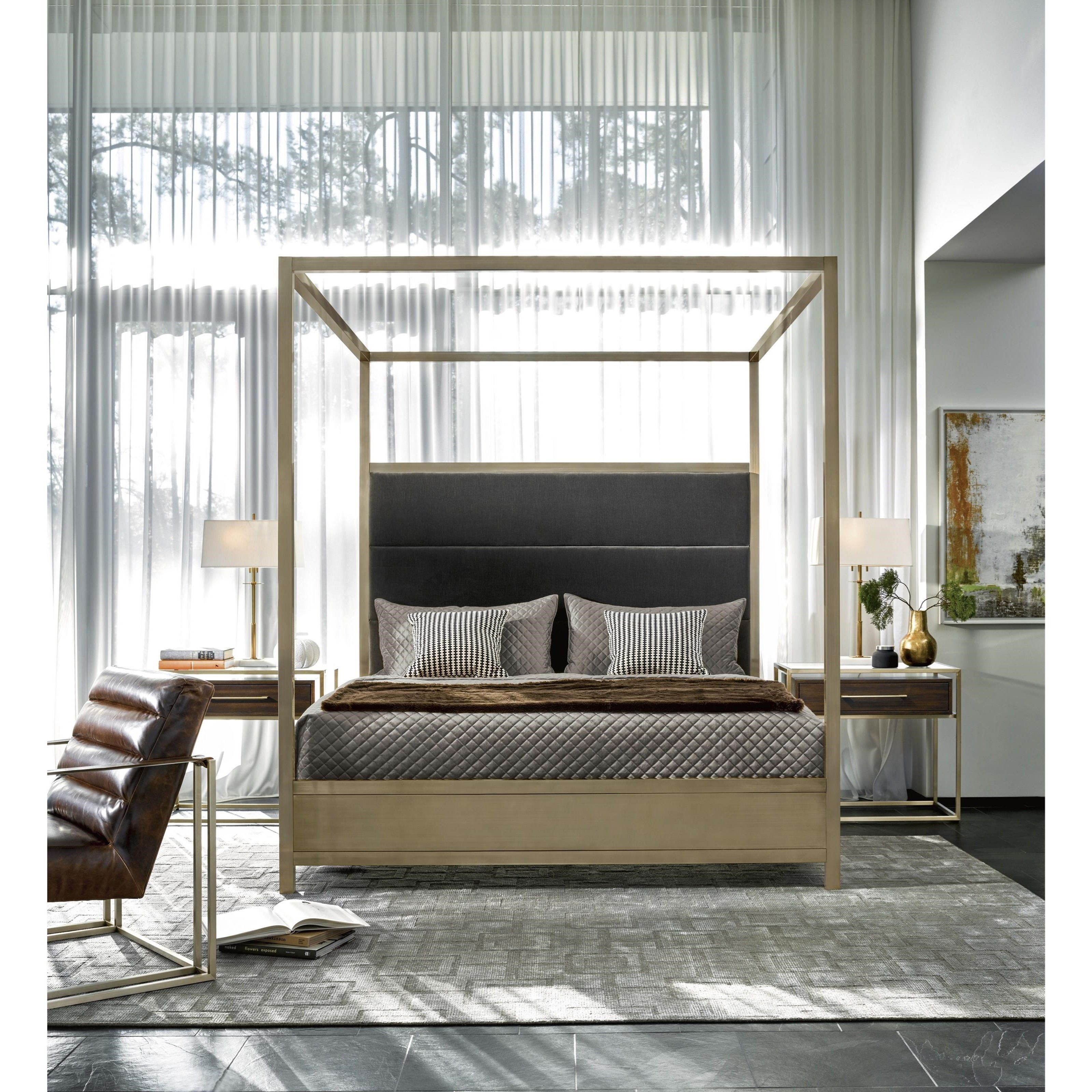 Universal Modern Harlow Cal King Canopy Bed With Brushed Brass Frame Howell Furniture Canopy Beds