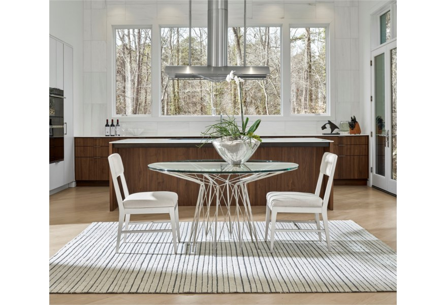 Universal Modern 964757 Axel Round Dining Table With Glass Top And Stainless Steel Metal Base Upper Room Home Furnishings Dining Tables
