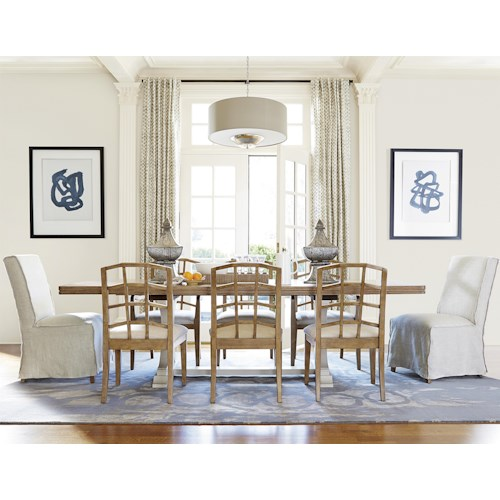 Universal Moderne Muse 9 Piece Dining Set with Rectangular Table and Parisian Chairs