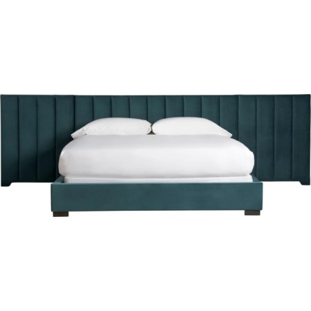 Magon Queen Upholstered Bed w/ Wall