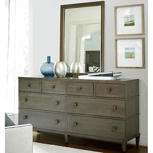 Universal Playlist 8 Drawer Dresser and Portrait Mirror Set