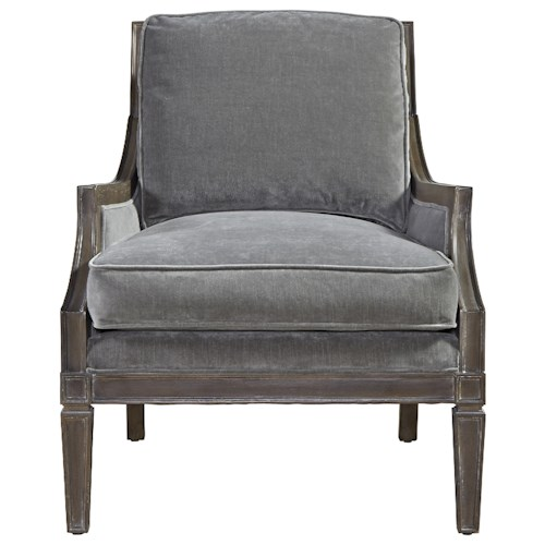 Universal Prescott Crosspoint Accent Chair with Wood Outer Back