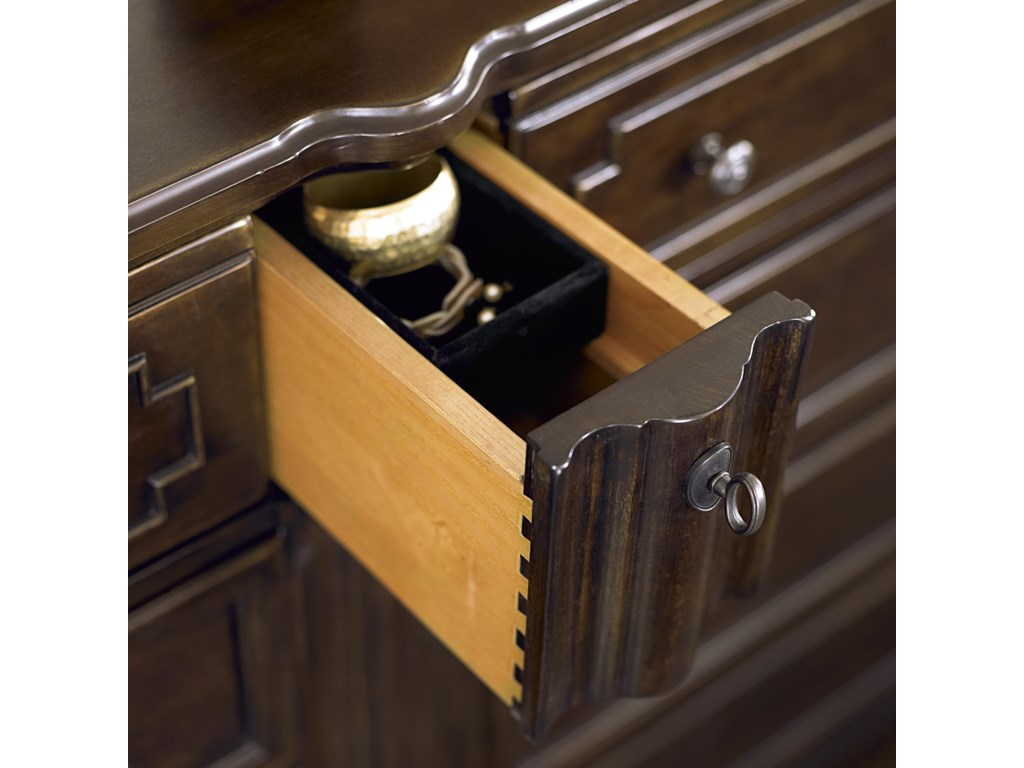 The Somewhat Hidden Small Center Drawer Contains a Felt-Lined Jewelry Box