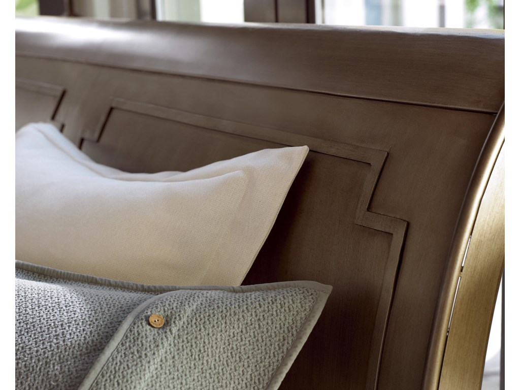 Bead-Like Overlay on Shaped Sleigh Headboard