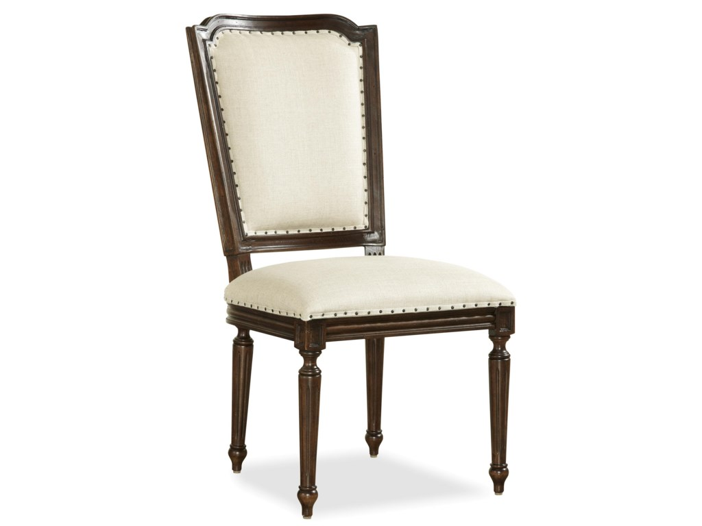 Set Features Upholstered Side Chairs with Woven Cane Outer Back