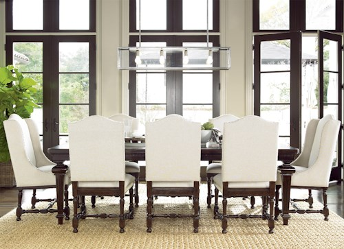 Universal Proximity Dining Set With Rectangular Table And Upholstered Chairs