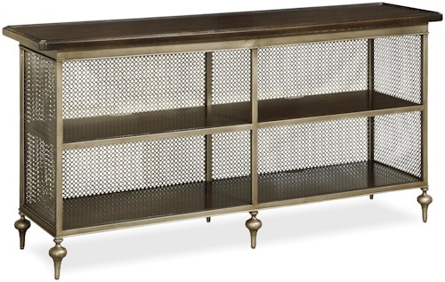 Great Rooms Proximity Console Table with Metal Mesh Back and Sides