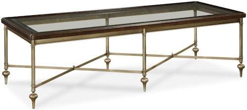 Great Rooms Proximity Cocktail Table with Glass Top and Metal Frame