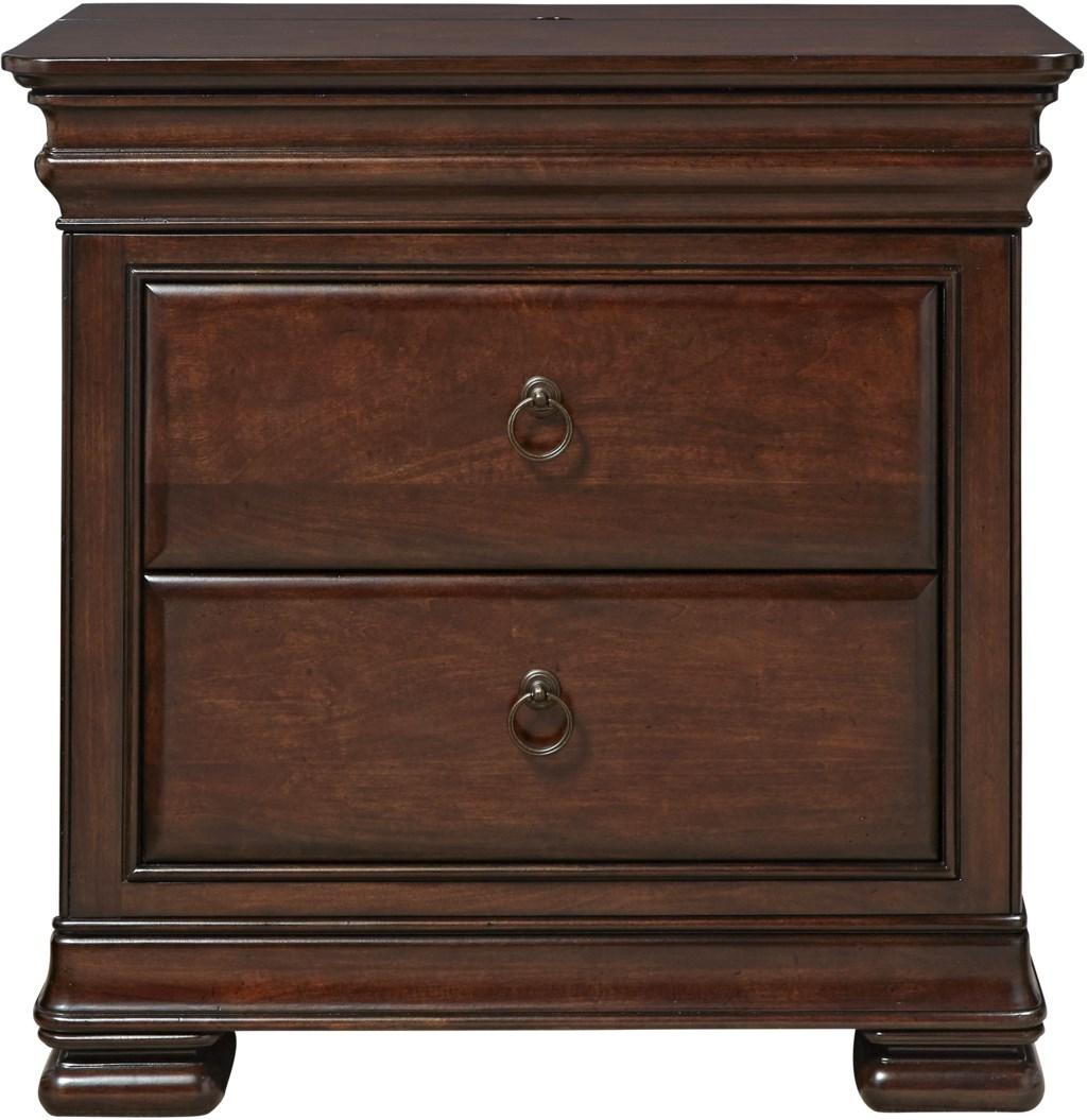 Universal Reprise Nightstand with Outlet and Hidden Top Rail