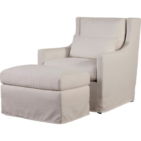 Upholstered Chair & Ottoman Set