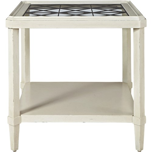 Universal Sojourn End Table with Glass Top and Metal Grill