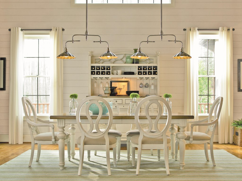 Shown with Pierce Back Arm Chairs and Rectangular Table