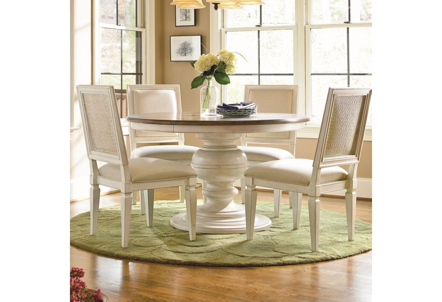 Universal Summer Hill 987656 4x634 6 Piece Round Pedestal Table And Woven Back Side Chair Set Baer S Furniture Dining 5 Piece Sets