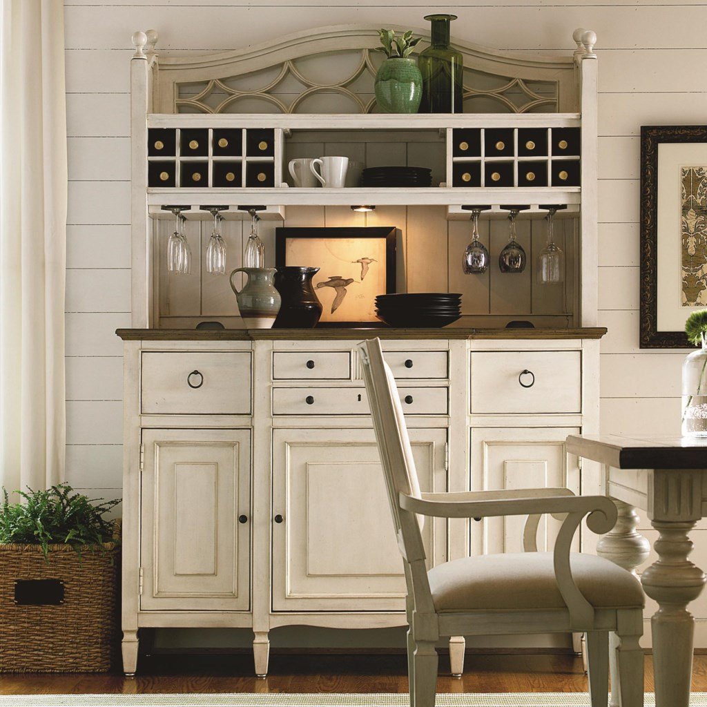 universal summer hill 2 pc serving buffet and bar hutch with wine