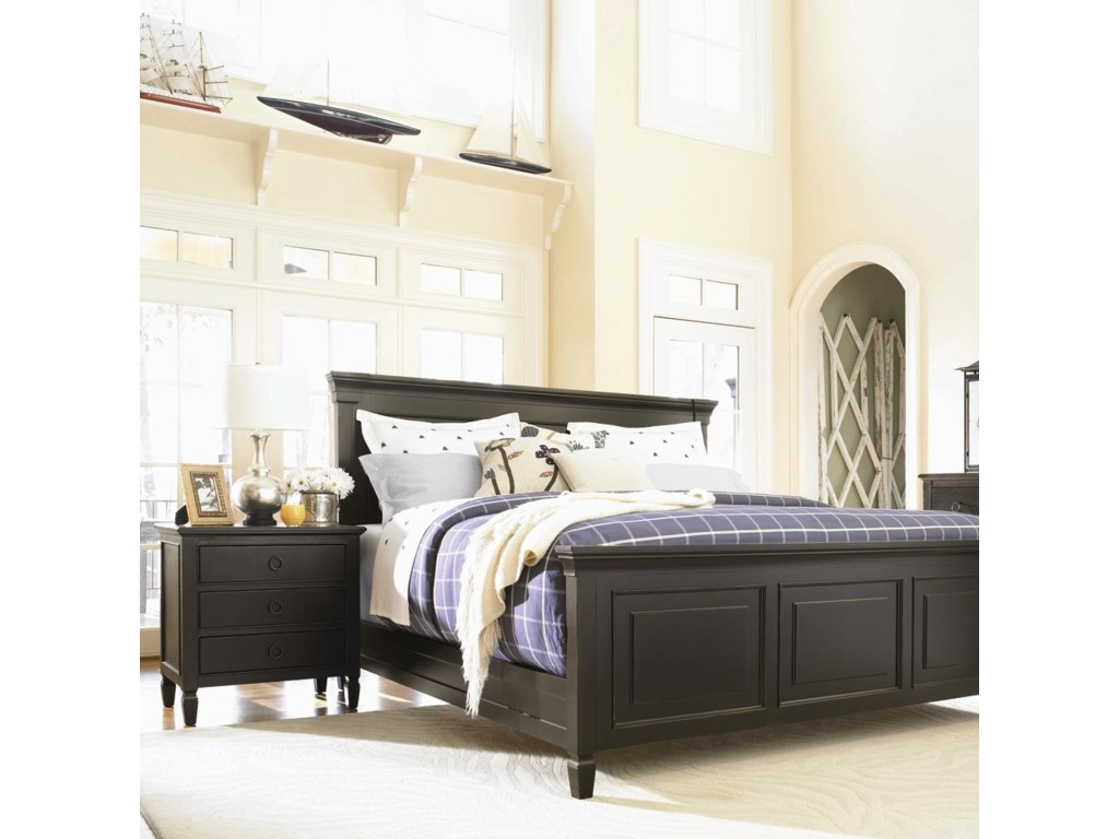 King Panel Bed Shown with Night Stand