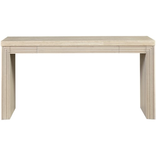 Great Rooms Synchronicity Mid-Century Modern Console Table with Travertine Table Top