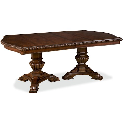 Double Pedestal Dining Room Table: Universal Villa Cortina Double Pedestal Dining Room Table