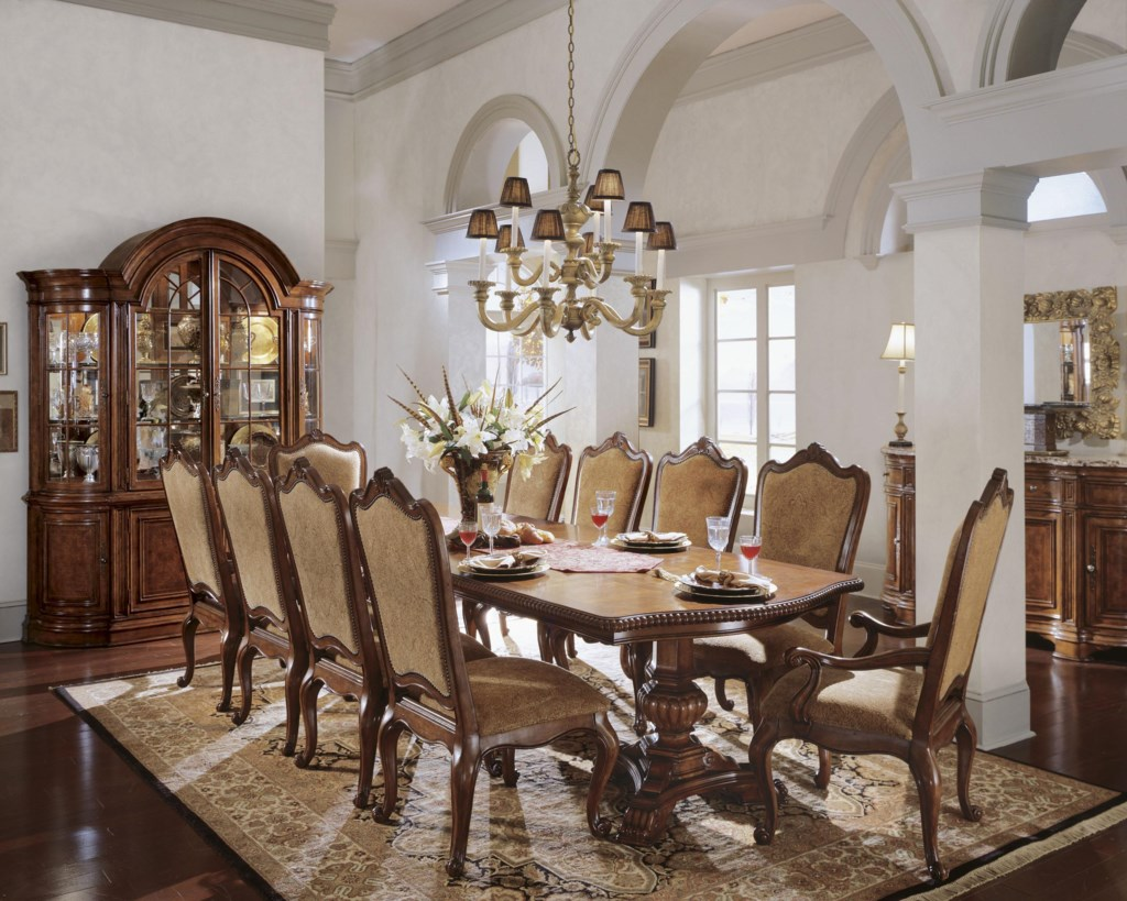 universal villa cortina double pedestal dining room table with