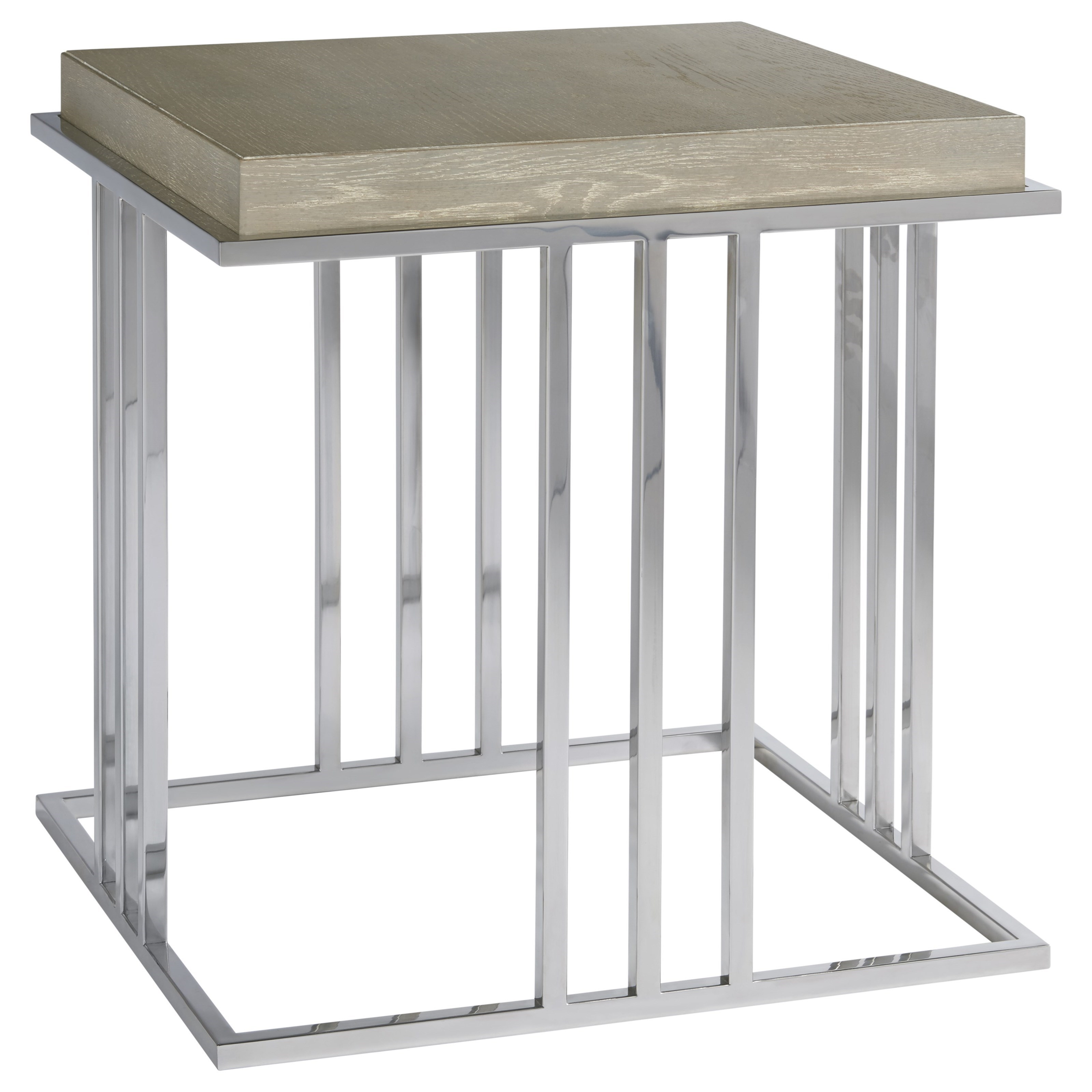 End Table with Stainless Steel Base
