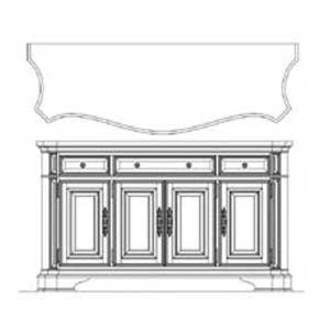 Universal Villa CortinaStorage Credenza with Marble Top