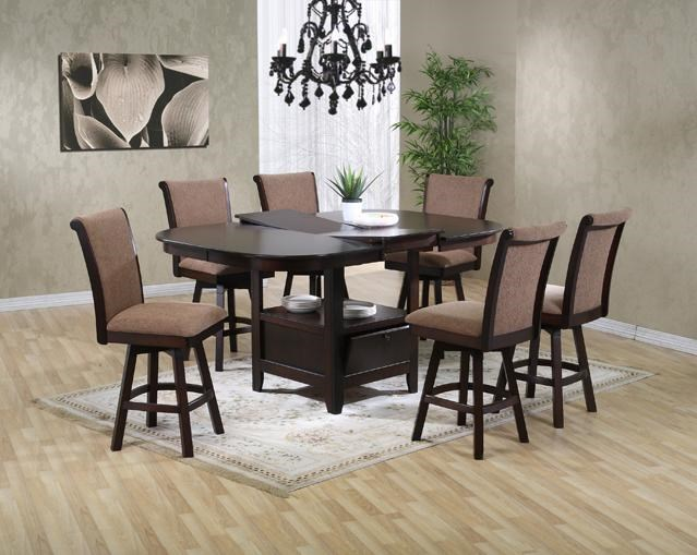 Wonderful U.S. Furniture Inc 2241/2242 7 Piece Pub Height Oval Top Table With  Butterfly Leaf And Swivel Stool Dining Chair Set