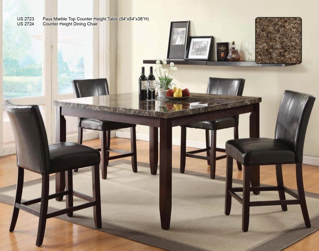 U s furniture inc 2720 dinettecounter height dining table shown with counter height chairs
