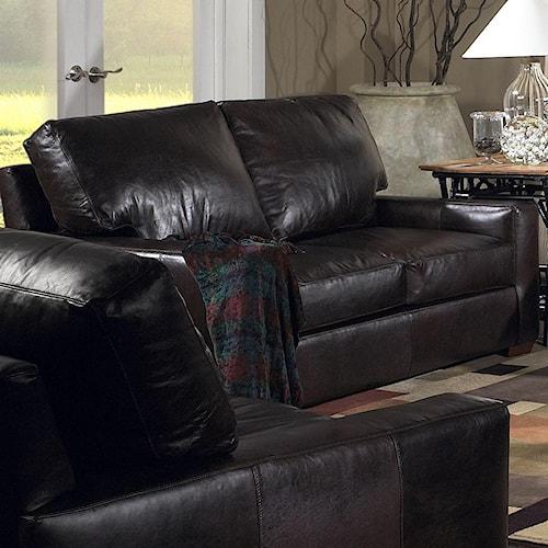 USA Premium Leather 2655 Loveseat w/ Exposed Wood Feet