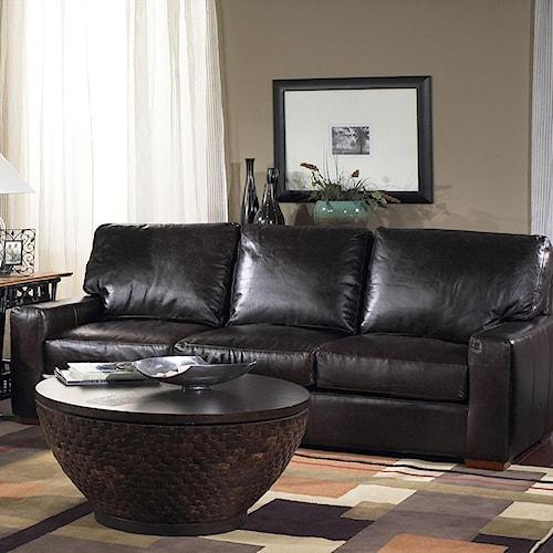 USA Premium Leather 2655 Stationary Sofa w/ Loose Seat Cushions