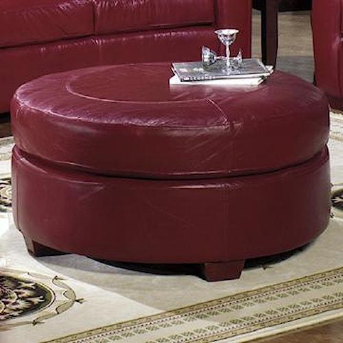 Usa Premium Leather 2950 Round Leather Ottoman