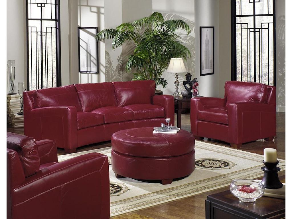 USA Premium Leather 2950Round Ottoman