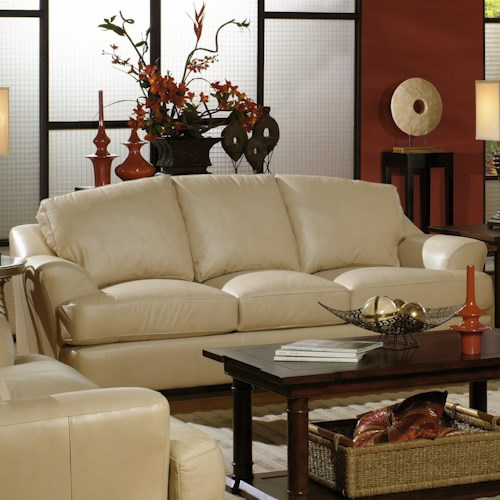 USA Premium Leather 3455 Transitional Leather Sofa with Flair-Tapered Arms
