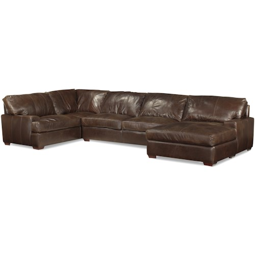 USA Premium Leather 3635 Track Arm Sofa Chaise Sectional w/ Block Feet