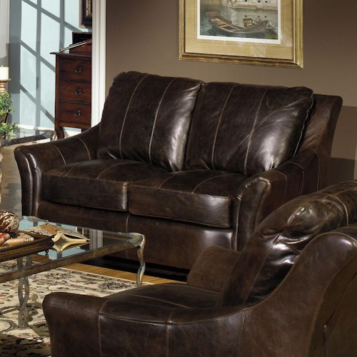 USA Premium Leather 3955 Contemporary Leather Loveseat with Flair Tapered Arms