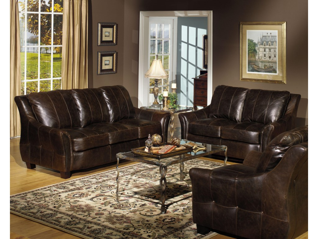 USA Premium Leather 3955Contemporary Leather Loveseat
