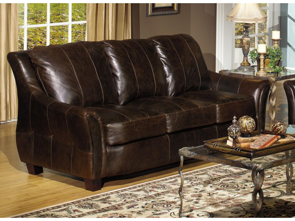 Usa Premium Leather 3955 Contemporary Sofa With Flair Tapered Arms