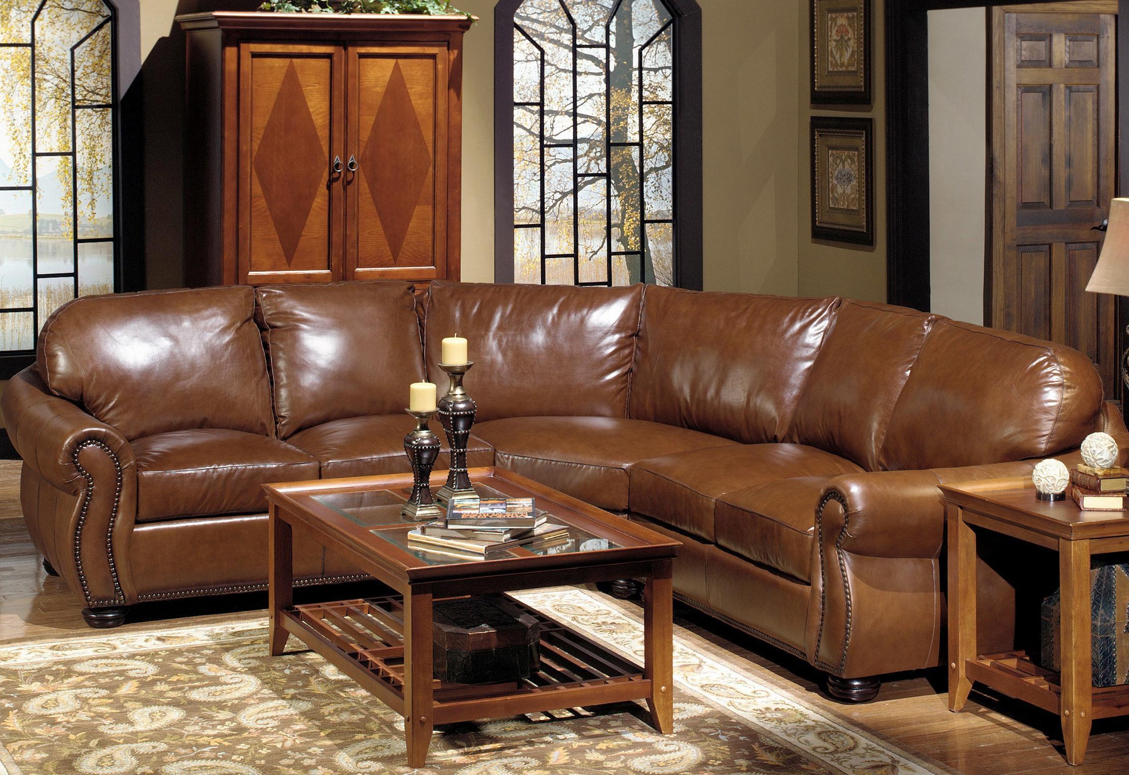 USA Premium Leather 4025 Leather Sectional Sofa With Decorative Nailhead  Trim