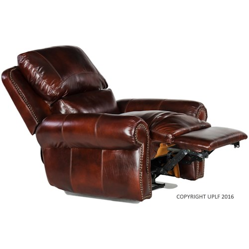 USA Premium Leather 4650 Traditional Leather Rocking Recliner with Nailheads