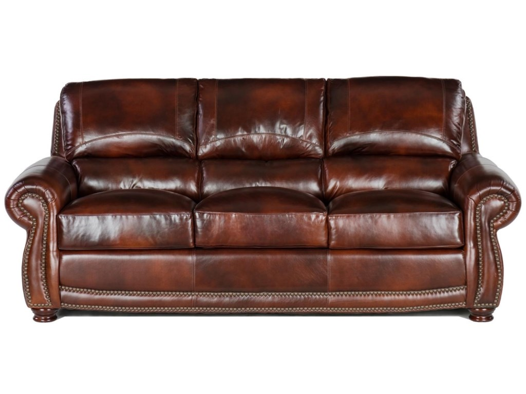 USA Premium Leather 4650 Traditional Leather Sofa with Nailheads ...
