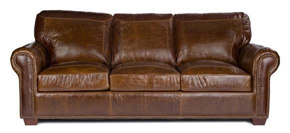 USA Premium Leather Stationary Leather Sofa Hudsons - Leather sofas tampa