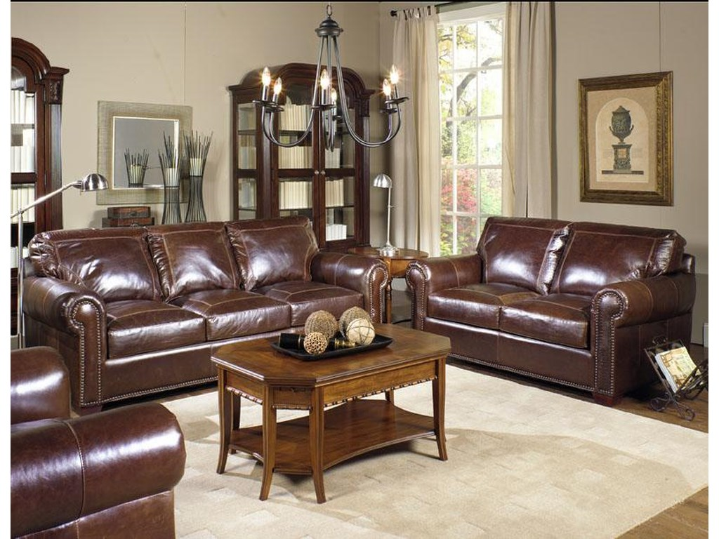 USA Premium Leather 4955Stationary Sofa