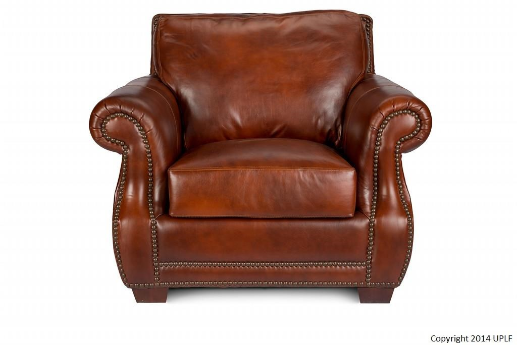 USA Premium Leather 5751 Traditional Leather Chair With Nailhead ...